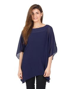 Navy Blue Polyester Weight Less Japan Chiffon Poncho For Women - PON 02 NV