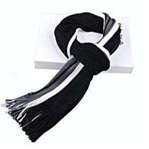 BluelifeMens Cashmere Long Fringe Striped Tassel Scarf - Black