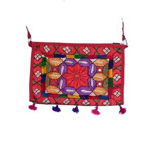 Maroon Cotton Embroidered Clutch for Women