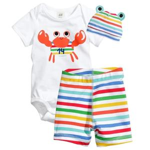 3-Pieces Set Baby Infant Short Sleeve Romper Cotton Clothes Jumpsuit With Hat And Shorts 95 - Crab