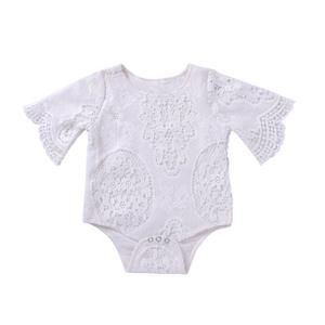 Baby Girls Lace Bat Sleeve Toddler Bodysuit Romper Jumpsuit Outfits Daily White 100cm