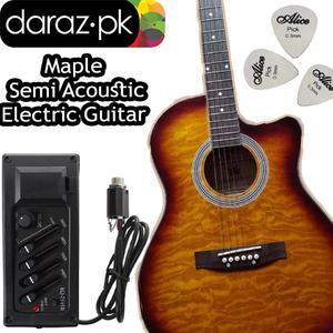 Semi Acoustic Guitar Maple loop Electric Cutaway 41 Jumbo Guitar (Design By Brazil)