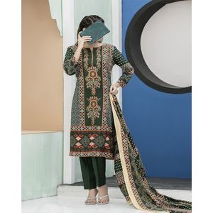 Pine Green Floral Printed Lawn Suit For Women - 3 Pcs