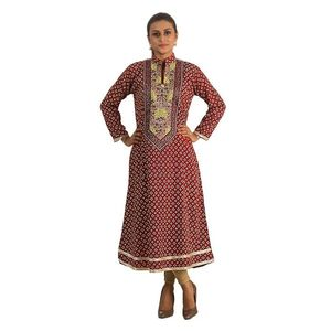 S.M COLLECTION Maroon Malai Linen Embroidered Kurta for Women - J-48