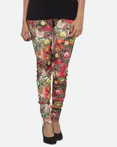 Multicolour Printed Plain Cotton & Polyester Tights - T-47