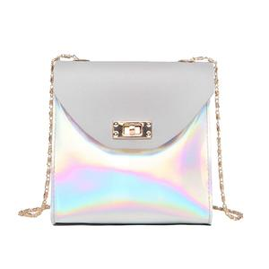 Lady Laser Chain Small Quadrate Bag PU Square Single-shoulder Bag - Light Grey