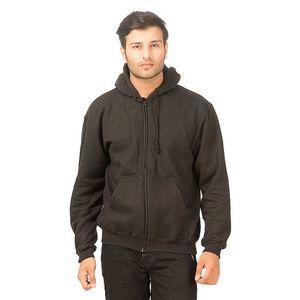 Black Cotton Fleece Zipper Hoodie For Men