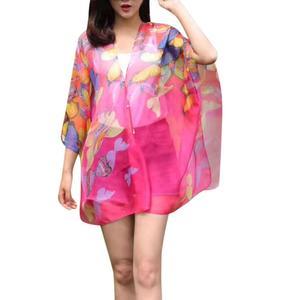 MissFortune Women Chiffon Sunscreen Scarf High Quality Big Size Printed Silk Scarf Shawl