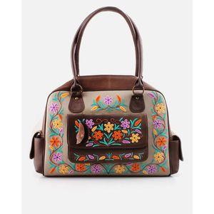 Kashmina Brown Leather Embroidered Hand Bag - Multicolor - BG-LT-BR-P4