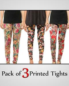 Pack of 3 Printed Tights for women