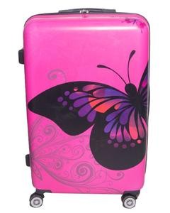 Butterfly Printed Trolley BagMagenta Poly Carbonate