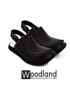 Black Leather Peshawari Sandal For Men