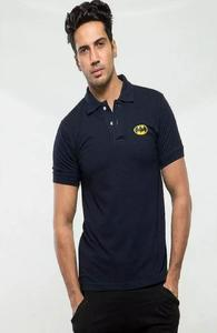 Navy Blue Printed Cotton Polo T Shirt For Men