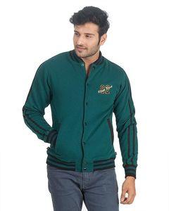 River Rock Teal Green & Black Cotton Fleece Embroidered Front Jacket For Men - 7869-259