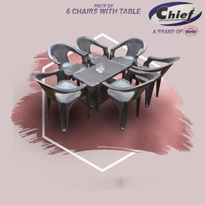 Chief (Boss) Set Of 6 Plastic Chairs And Plastic Table - Dark Grey