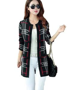 Black Checkered Button Long Coat For Women