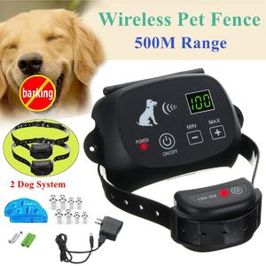 Wireless Pet Fence Rechargeable Electric Containment 2 Dog System Waterproof US Plug