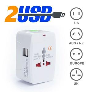 Travel Adapter, Worldwide All in One Universal Travel Adaptor Wall AC Power Plug Adapter Wall Charger with Dual USB Charging Ports for USA EU UK AUS Mobile Phones Etc.