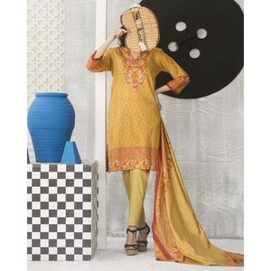 Canary Brown Floral Printed Lawn Suit For Women - 3 Pcs