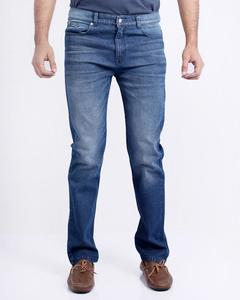 Medium Blue Rough Denim Jeans With Whiskers Blasting For Men