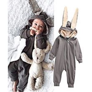 Kinder Kollection Kids Warm Long Sleeve Bunny Style Pajamas Infant Cotton Zipper Jumpsuits Baby Newborn Rabbit Hooded