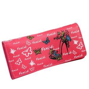 Women Butterfly High Heels Print Button Clutch Purse Handbag Wallets