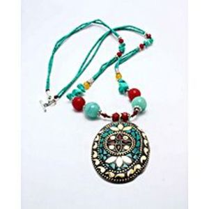 Gilgit Bazar Feroza Stone Necklace Green GB2126