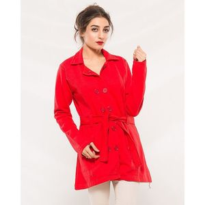 Buysense Red Cotton Fleece Winter Western Style Long Coat With Front Pockets For Women