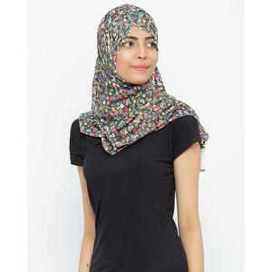 Multi Colored Floral Net White Colored Pearls Beaded Hijab
