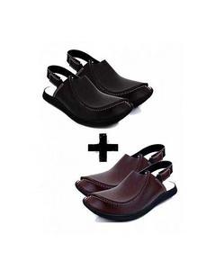 Pack Of 2 - Brown And Black Leather Peshawari Sandal For Men