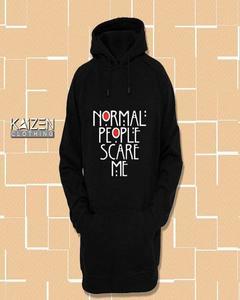 Black Normal People Scare Me Print Hoodie for Man