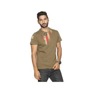 Brown Jersey Printed T-Shirt for Men
