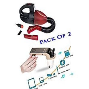 As seen on tvPack Of 2- Car Vacuum Cleaner With CAR G7 Bluetooth Car Modulator