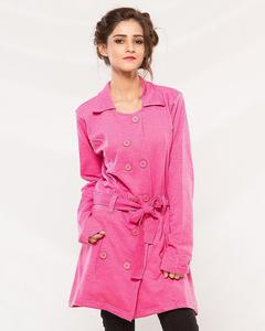 Pink Cotton Fleece Winter Western Style Long Coat With Front Pockets For Women