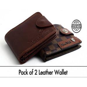 Pack of 2 - Black & Brown Leather Wallet For Men