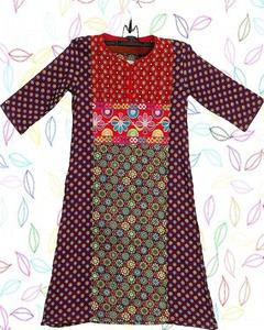 Purple Cotton Embroidered Kurta For Girls