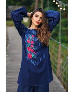 So Kamal Winter Collection  Blue Karandi Embroidered 1PC -Unstitched Shirt DPW18 848 EF01338-STD-BLU
