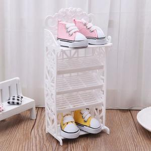 Mini Shoe Rack for Dolls Home Accessories Shoes Storage Tool Model for doll Toy Gift for Kids