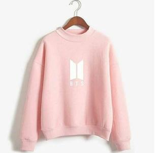BTS Print Sweatshirt For women Baby Pink Fleece Winter Collection