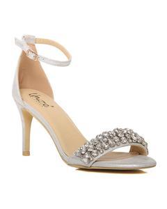 """Silver Women """"Wanda"""" Ankle Strap Stiletto Heel Sandals L29906"""