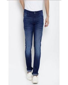 Navy Blue Cotton Casual Jeans For Men