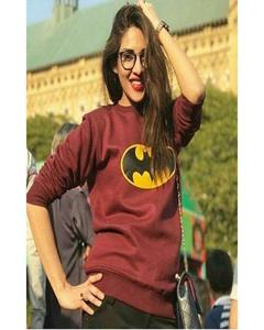 Maroon Batman Fleece Sweatshirt For Women