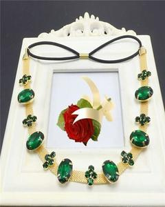 Green Crystals And Gold Strip Head Band & Necklace