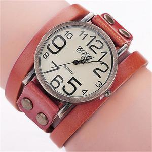 CCQ Brand Vintage Cow Leather Bracelet Watch Men Women Wristwatch Quartz OR