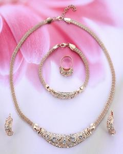 4 pieces Gold Color Crystal Necklace Earring Bracelet Ring
