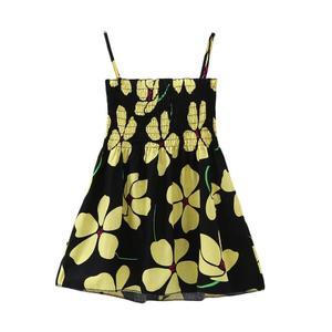 Summer Baby Girls Dress Floral Printed Lovely Kids Vest Skirt Sleeveless Gold 110