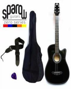 Spzero Beginners Acoustic Folk Cutaway Guitar 38 Inch (Black) Free Bag/Strap/Pick