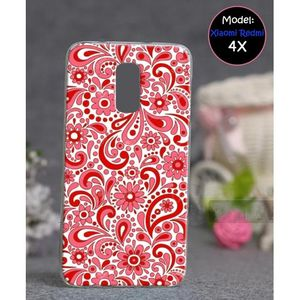 Xiaomi Redmi 4X Mobile Cover Floral Style - Red