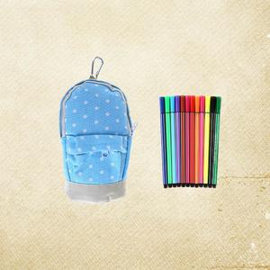 Korean Style Dots School Pencil Case Cute Canvas Pen Bag Stationery Pouch