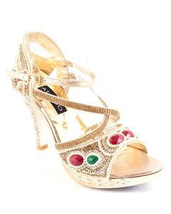 Golden Synthetic Leather Stilettos for Women